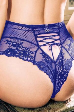 Tanga sexy bleu à laçage