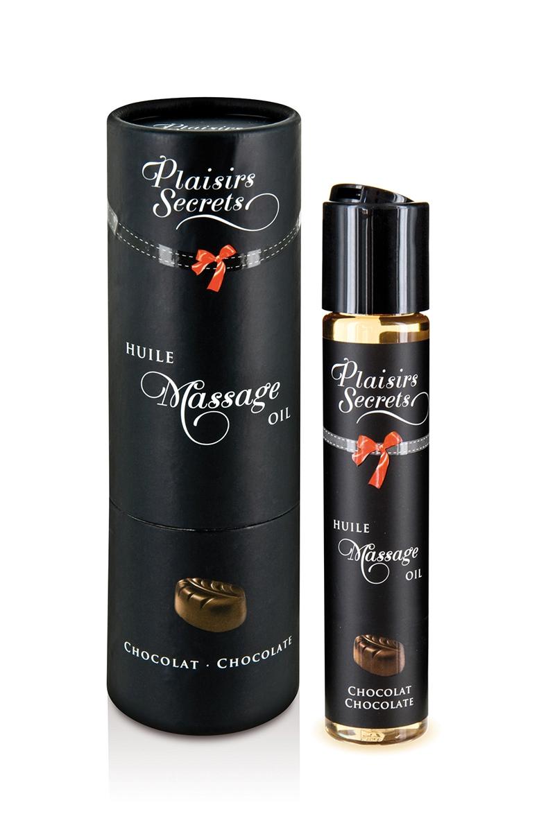 Huile de massage comestible Plaisir Secret, saveur chocolat, joli packaging - oohmygod
