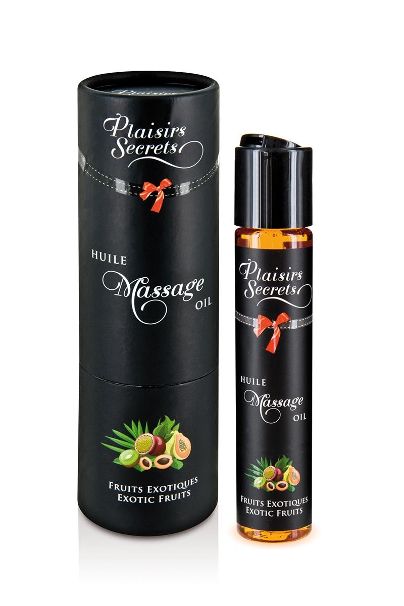 flacon de 59ml d'huile de massage gourmande et comestible saveur fruits exotiques de la marque Plaisir Secret