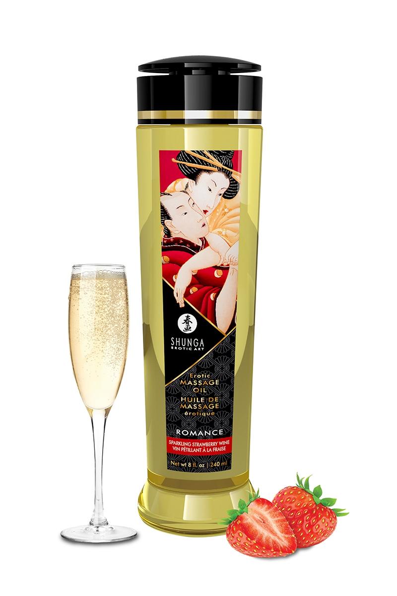Huile de massage érotique parfum fraise & vin pétillant - Shunga