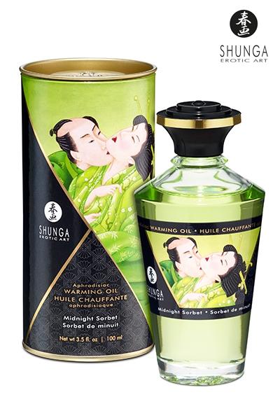 Huile bio aphrodisiaque chauffante - Sorbet de minuit - Shunga