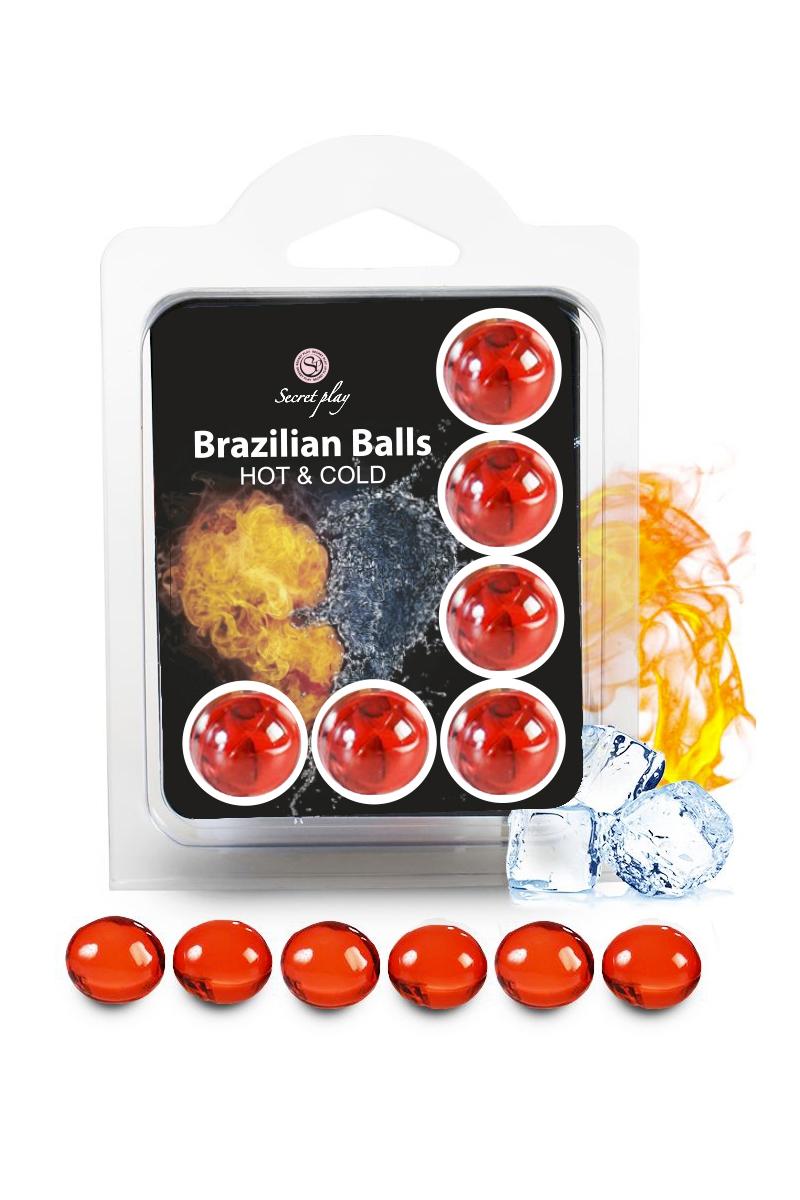 6 boules lubrifiantes qui se dissolvent sur le corps et procurent un effet chaud et froid