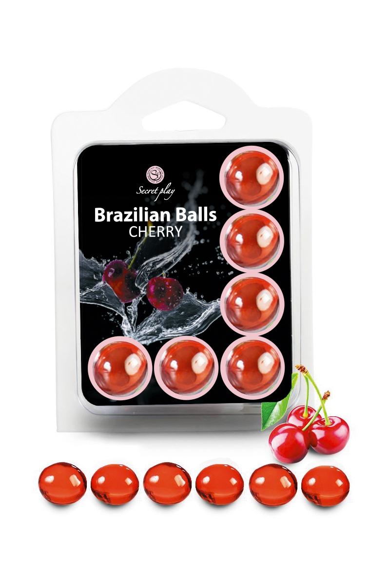 Boules lubrifiantes 6 Brazilian Balls cerise - Secret Play