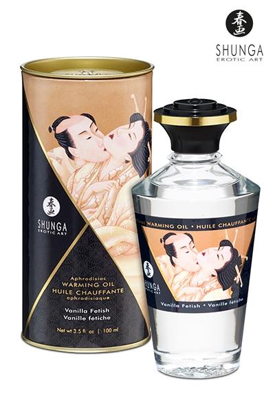 Huile bio aphrodisiaque chauffante Vanille fétiche - Shunga