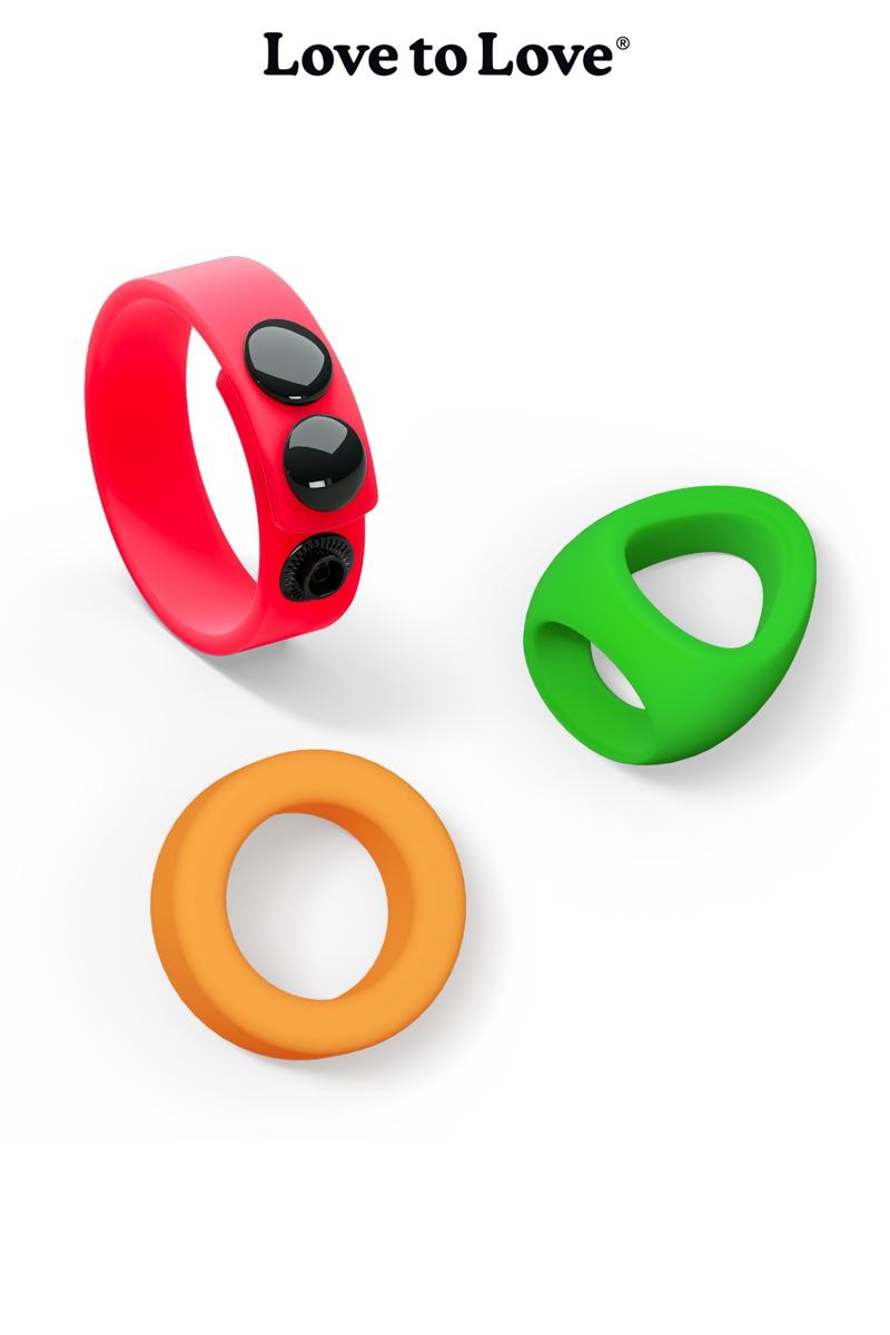 3 anneaux de penis avec 3 formes et couleurs differentes, un rouge, un vert et un orange