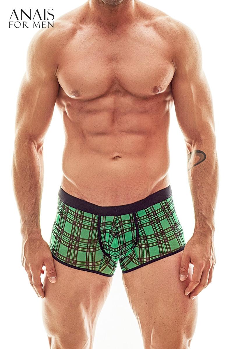 boxer vert transparent quadrille style bucheron, vue de devant
