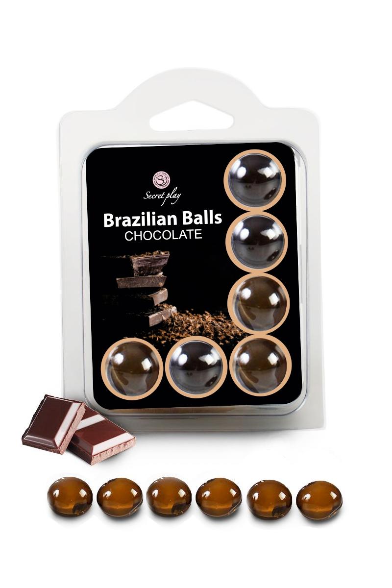 6 boules lubrifiantes Brazilian Balls de Secret play, lubrifiant parfum chocolat - oohmygod