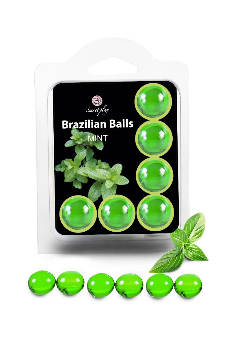 6 boules lubrifiantes parfum menthe, Brazilian Balls de la marque Secret Play, les boules fondent sur le corps et se transforment en lubrifiant, oohmygod