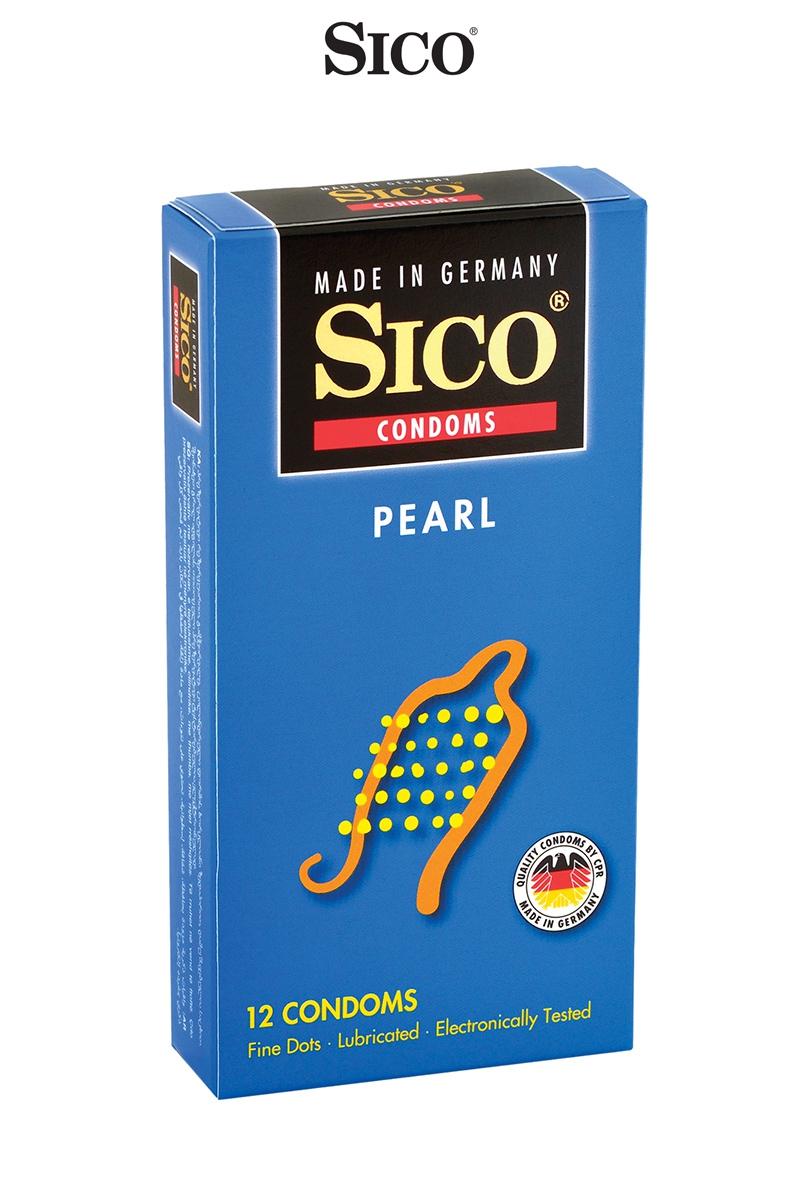 Préservatifs PEARL de la marque Sico à la surface texturé de petites perles qui permettent d'améliorer les sensations de votre partenaires, 52 x 180mm, déjà lubrifiés - oohmygod
