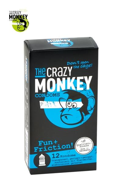 Boite de 12 Préservatifs texturés Fun et Friction - Crazy Monkey