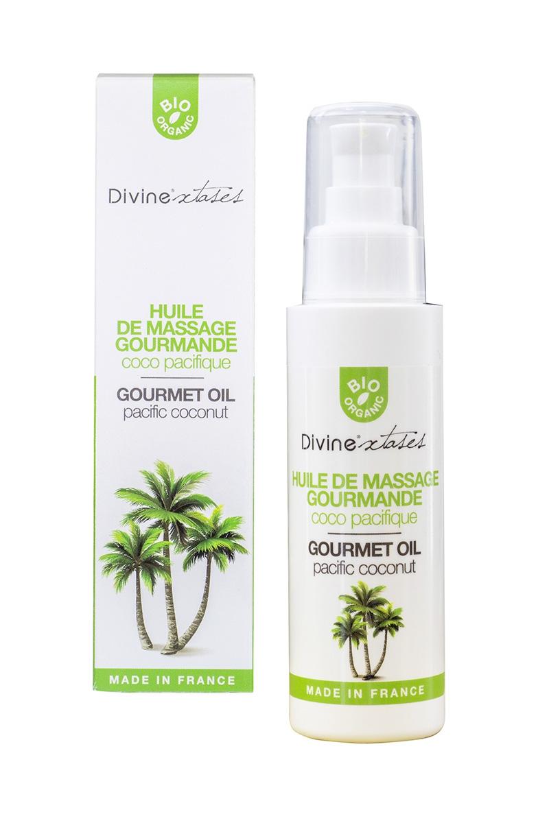 Huile de massage bio parfum noix de coco de la marque Divinextases, hydrate la peau et fait à partir d'ingrédients naturels - oohmygod