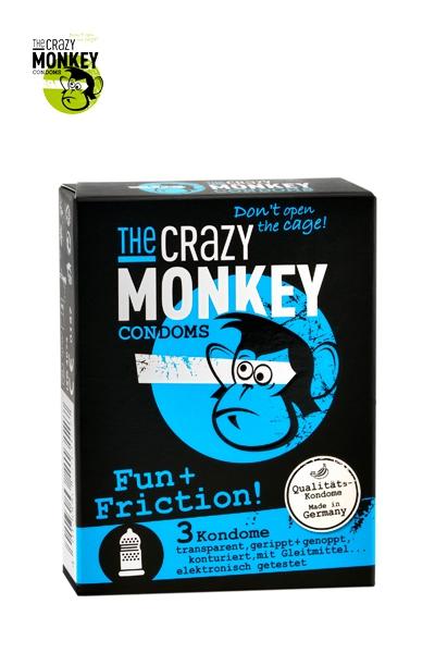 Boite de 3 préservatifs texturés Fun et Friction - Crazy Monkey