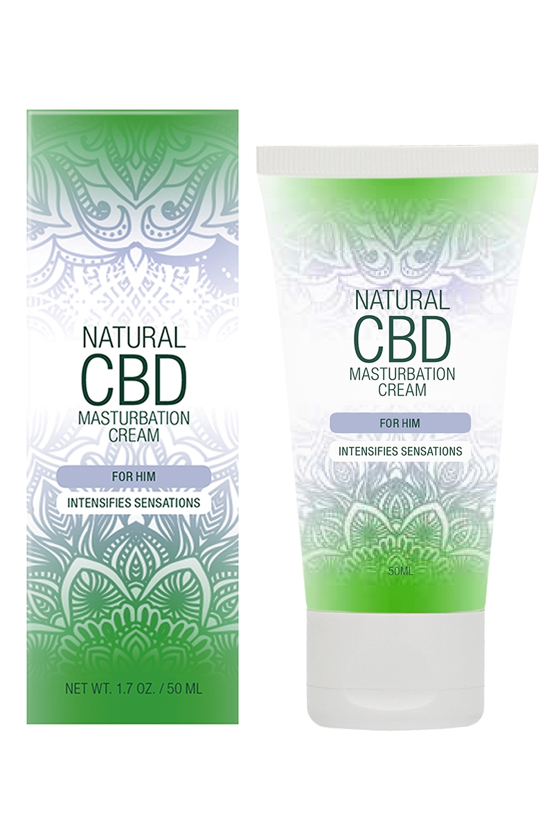 Flacon de 50ml de crème de masturbation à base de CBD et d'ingrédients naturels de Natural CBD, vendu chez oohmygod
