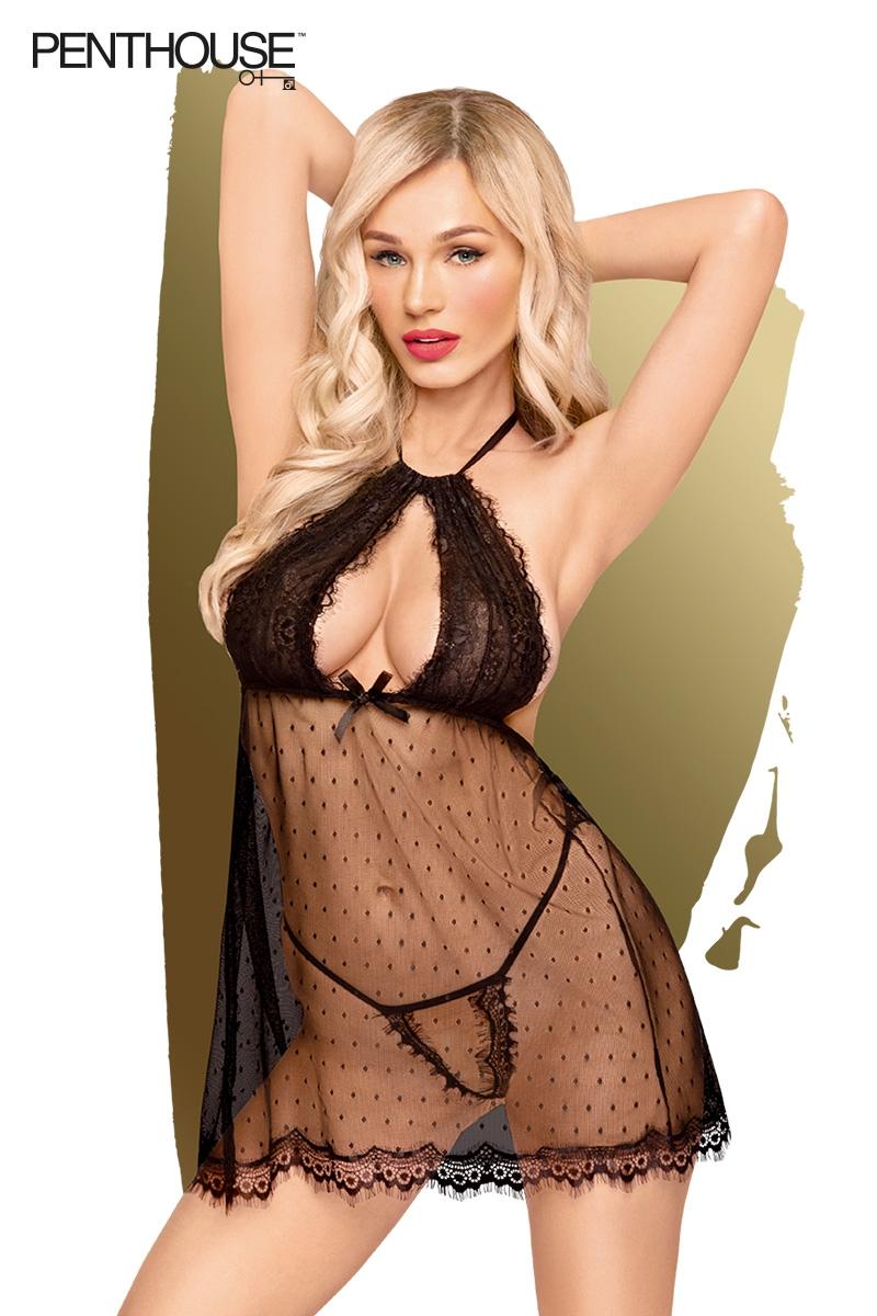 Nuisette Libido Boost transparent noire de la marque Penthouse, string assorti fourni, de la taille S à 3XL - oohmygod