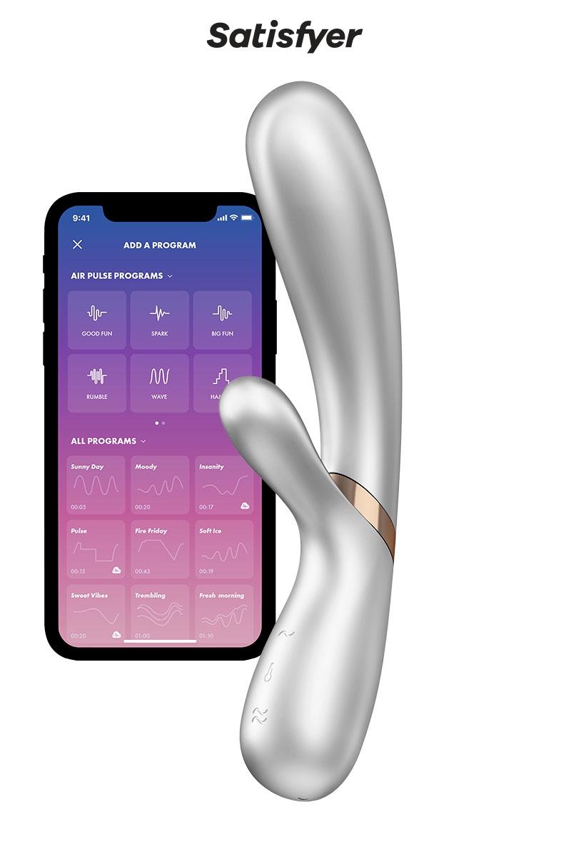 Vibromasseur Rabbit chauffant Hot Lover silver, sextoy connecté dédié à la double stimulation - oohmygod