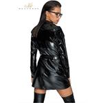 vue arrière Trench coat noir wetlook et vinyle noir F225 Noir handmade, coupe tendance et effet robe fermé avec un magnifique décolleté, du S au 3XL - oohmygod