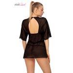 vue arrière du déshabillé peignoir anais apparel, effet robe noire oohmygod