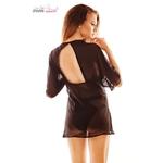 vue arrière du déshabillé peignoir en tulle anais apparel, effet robe noire oohmygod