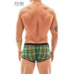 boxer vert transparent quadrille style bucheron, vue de derriere