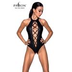 Magnifique Body Nancy de chez Passion Lingerie, body ouvert sur les parties intimes et fabriqué en simili cuir noir mat, du S au 3XL - oohmygod