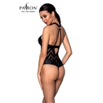 Vue de dos du Body Hima de la marque Passion Lingerie en tulle transparent et en faux cuir - oohmygod