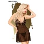 Nuisette Bedtime Story couleur noire de la marque Penthouse, fabriquée en voile transparent et en dentelle, sans armatures, string fourni - oohmygod