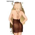 Vue arrière de la nuisette Bedtime Story de Penthouse, couleur noir du S au 3XL, accompagnée dun string assorti - oohmygod