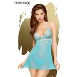 Nuisette Bedtime Story bleue de la marque Penthouse, fabriquée en voile transparent et en dentelle, sans armatures, string fourni - oohmygod