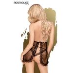 Vue arrière de la nuisette Libido Boost noire de chez Penthouse - oohmygod