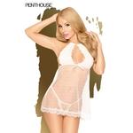 Nuisette Libido Boost blanche de la marque Penthouse, nuisette courte transparente avec un string assorti fourni, fendue à l'arrière, du S au 3XL - oohmygod