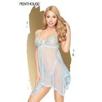 Nuisette Naughty Doll bleu transparente de la marque Penthouse, string assorti fourni, du S au 3XL - oohmygod