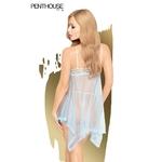 Vue arrière de la nuisette Naughty Doll bleu de la marque Penthouse, vendu chez oohmygod