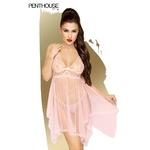 Nuisette Naughty Doll de la marque Penthouse, couleur rose pâle très transparent, accompagné d'un string en dentelle assorti, du S au 3XL - oohmygod