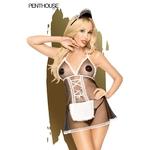 Costume de soubrette Teaser de la marque Penthouse, composé d'une nuisette transprente, d'un string et d'un serre-tête, du S au 3XL - oohmygod