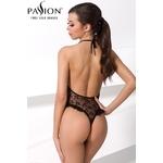 Vue arrière du body noir en dentelle et à volants Otavia de chez Passion Lingerie, coupe tendance et sexy avec un magnifique dos nu - oohmygod