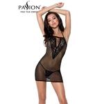 Nuisette sexy noire en tulle transparent Erza de la marque Passion Lingerie, coupe moulante très sexy, du S au 3XL - oohmygod