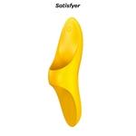 Stimulateur Teaser jaune de chez Satisfyer, doigt vibrant unisexe pour les zones érogènes externes - oohmygod