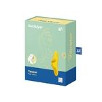 Boite du stimulateur jaune Teaser de chez Satsifyer, doigt vibrant pour la stimulation externe, unisexe - oohmygod