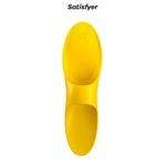 Doigt vibrant jaune Teaser de la marque Satisfyer, stimulateur en silicone unisexe dédié à la stimulation des parties intimes - oohmygod