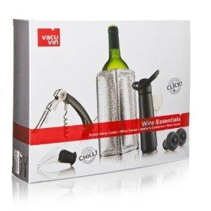Coffrret cadeau Vacuvin avec 1 Pompe Concerto noire 2 bouchons + 1 Active Wine Cooler argenté + 1 Wine Server noir + 1 Tire-bouchon Waiter\'s noir