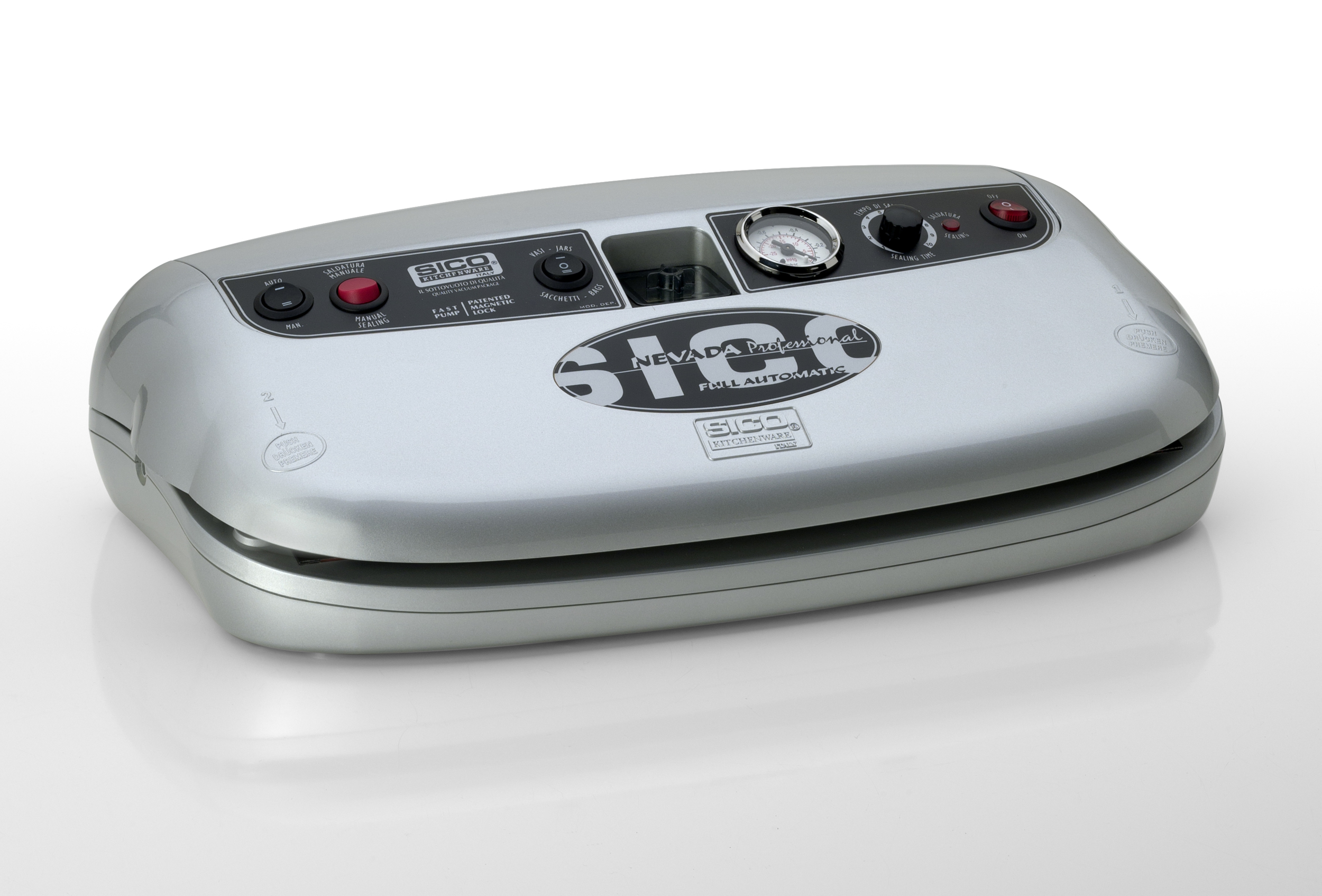 machine sous vide SICO NEVADA Silver,650W, Triple soudure 32 cm, vide -925 mb, aspiration 25L/min. Régulateur de pression. Garantie 2 ans. Garantie unique 10 ans (voir conditions) !! Port offert.Prog Fidélité 20€ crédités !