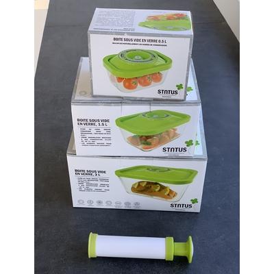 Kit de départ comprenant 3 boite sous vide en verre : 1 boite 0.5 L + 1 boite 1,5 L + 1 boite 3 L + la pompe manuelle
