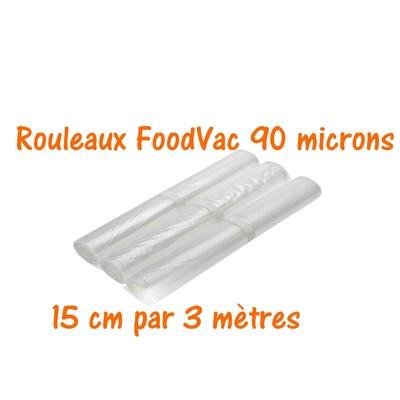 Rouleaux gaufrés 15 cm / 3 mètres.  90 microns qualité supérieure. Prix dégressifs jusqu'à -25%. Compatible avec toutes les machines à aspiration externe (Reber, Status, Foodsaver, Orved, Silvercrest...)