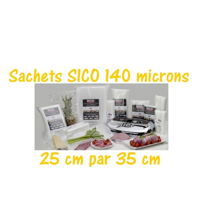 Paquets 50 sachets sous vide SICO 25cm par 35 cm. Prix dégressifs. Top qualité : 140/140 microns. 100% compatible avec toutes les machines (sico,Reber, Status, Foodsaver, Orved, Figuine, Takaje, Vacsy, FoodVac...).
