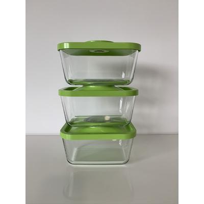 Lot de 3 boites sous vide en Verre Status 1,5 litres - coloris vert pomme (Attention, la pompe manuelle n'est pas incluse avec ce lot)