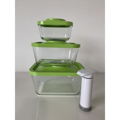 Kit de départ comprenant 3 boites sous vide en verre : 1 boite 0.5 L + 1 boite 1,5 L + 1 boite 3 L + la pompe manuelle