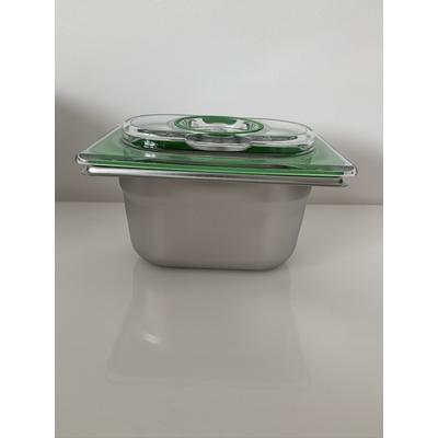 Boite sous vide Inox 17,6 cm / 10,8 cm (bac 1/9). 2 HAUTEURS DE BACS AU CHOIX : 6,5 cm ou 10 cm (0,6 L à 1 L)