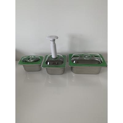 Lot découverte Plus INOX 3 boites : 1 boite 1 L + 1 boite 1,6 L + 1 boite 2,8 L + + la pompe manuelle