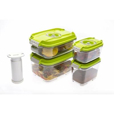 Lot de 4 boites sous vides rectangulaires  (0.5 + 0.8 +1.4 +2 litres) + Pompe manuelle.  Choix de la couleur : Blanc, Vert Pomme , Rouge Grilles de fond offertes pour les boites 1.4 et 2 litres.