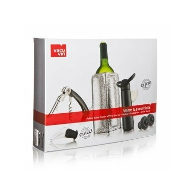 Coffrret cadeau Vacuvin avec 1 Pompe Concerto noire 2 bouchons + 1 Active Wine Cooler argenté + 1 Wine Server noir + 1 Tire-bouchon Waiter's noir